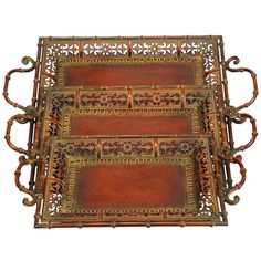 Found it at Wayfair - Toscana 3 Piece Serving Tray Set in Cherry Brown: $60 for all, great for gathering patio lanterns for easy movement?