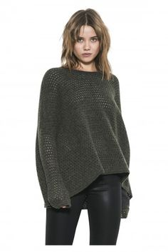 Ema Pullover by one grey day- It's all about the luxurious texture with Ema. Soft and velvety in a perforated stitch in a color, she comes in an oversized boxy fit that collapses like a cape around your torso. Dark Grey, Pullover Sweaters, Knitwear, Turtle Neck, Knitting, Day, Polyvore, Stuff To Buy, Shirts