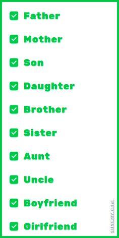 英語での家族 - 英語における家族, 英語で家族 . Family Members in English and Japanese foy You