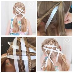 From my Instagram @flettemia: Here is the #tutorial for the hairstyle with criss-crossed three strand braids and ribbon into three strand braids. We did this for a football match and the style held up really well ✨ // Her kommer #hårvideo for frisyren med kryssede treerfletter og bånd over i treerfletter. Vi laget denne frisyren til en fotballkamp og den holdt seg veldig godt ✨ Football Match, Den, Braids, Ribbon, Hairstyles, Photo And Video, Beauty, Instagram, Fashion