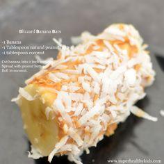 Banana Blizzard Bars! Snack idea for kids. #kidsfood #funfood #bananas