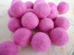 Felt Wool Balls x 10  Dark Pink  2cm  Felt Balls by heartsupplies, $3.00