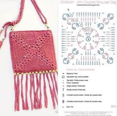 Bolsa de Crochê com Gráficos: 90 Modelos Crochet Diagram, Crochet Motif, Crochet Yarn, Crochet Hooks, Free Crochet, Crochet Clutch, Crochet Handbags, Crochet Purses, Crochet Bag Tutorials
