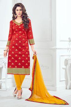 stylish evening wear red banarasi jecard dress...