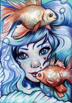 ACEO-Mermaid-sirene-Meerjungfrau-fantasy-pencil-drawing-original-by-Dawn-Lynch