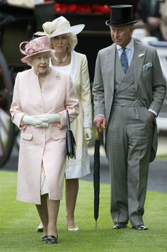 Queen Elizabeth, Camilla, Duchess of Cornwall and Charles, Prince of Wales at Ascot