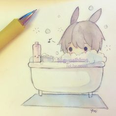 waiting until the bathroom is free so I can take a shower (ok I guess he's taking a bath here but if I drew someone taking a shower it would be pretty nsfw). Even though I was there first I had to let my mom use it because she wanted to shower first .___. It's her house so I guess I can't complain but she does this often. #sakurakoi #watercolor #watercolour #sketch #chibi #kawaii #cute #moe #bath #bathtime