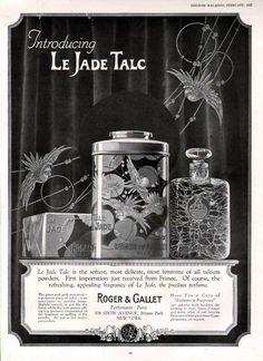 1925 FRENCH PERFUME ART DECO TIN BOTTLE PARROT TALC AD