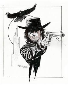 Roland Deschain - The Gunslinger series - Black and White Cowboy Tattoos, Western Tattoos, Dark Tower Art, The Dark Tower, Western Comics, Western Art, Ink Illustrations, Illustration Art, Dark Tower Tattoo