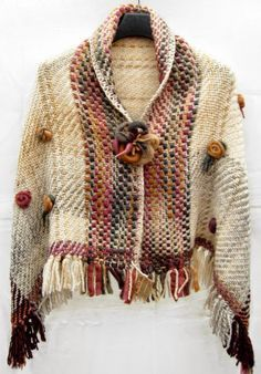Like this for some odd reason lol Gilet Crochet, Crochet Jacket, Crochet Shawl, Knit Crochet, Weaving Patterns, Knitting Patterns, Loom Weaving, Hand Weaving, Nuno Felt Scarf