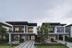 Duplex House Design, Small House Design, Home Building Design, Building A House, Small Villa, Modern Villa Design, Thai House, My House Plans, Street House