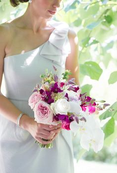 Bouquets from Real Weddings: Phalaenopsis Orchids, Dendrobium Orchids, Garden Roses, and Ranunculus |  Photo by Style Art Life