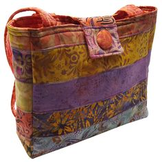 Medium Purse in Pink, Lavender and Orange Batik by Sieberdesigns on Etsy