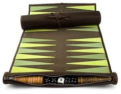 Leather Travel Backgammon A refreshing smart new colourway. This backgammon cleverly rolls up and is an ideal travel companion. Made from the finest leathe