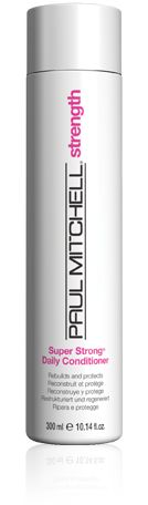 Paul Mitchell Super Strong  Daily Conditioner  Repairs and protects worn-down locks.  Benefits: Softens, smooths and prevents   moisture loss.  Bonus: Shields hair from damaging UV rays.  Details:  Super Strong® Complex rebuilds the internal structure of hair.  Canola, soy bean and corn starch soften and smooth.  UV absorbers help prevent sun damage.  Color-safe formula.