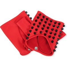 CAUSSE GANTIER Fingerless stud-detail leather gloves ($155) ❤ liked on Polyvore featuring accessories, gloves, red, causse, red fingerless gloves, studded gloves, fingerless gloves and red gloves