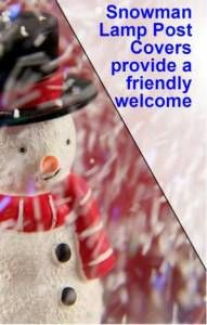 Snowman Head Christmas Outdoor Light Lightpost Lamppost Cover