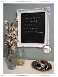Chalkborad Frame !! What a clever idea! I have so many old frames around the house I can create this  with :)