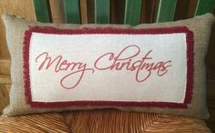 'Merry Christmas' Natural Burlap Pillow. ruby red ink print on linen. 16x8   $20  www.woofandcompany.etsy.com