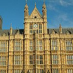 WESTMINSTER PALACE, OR HOUSES OF PARLIAMNET; LONDON, ENGLAND, 1836 TO 1868; ARCHITECT-SIR CHARLES BARRY; STYLE-ENGLISH GOTHIC REVIVAL;Westminster New Palace, the Houses of Parliament for England and all the United Kingdom, including the famous clock Big Ben. Design of gothic details assisted by A. W. N. Pugin.