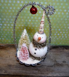 Vintage Style Snowman in Tin Candy Mold Christmas Folk Art - Red. $29.00, via Etsy.