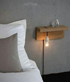 Floating Shelf Ideas - My List of Lists Minimalist bedside table. … Floating Shelf Ideas - My List of Lists Minimalist bedside table. …Floating Shelf Ideas - My List of Lists Minimalist bedside table. Home Bedroom, Modern Bedroom, Bedroom Decor, Bedroom Lighting, Bedroom Ideas, Bedroom Night, Bedside Lighting, Trendy Bedroom, Bedroom Chandeliers