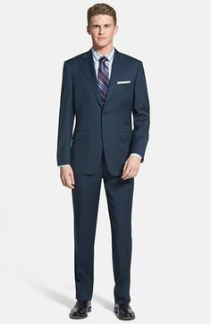 $1,695, Navy Suit: Canali Classic Fit Wool Suit. Sold by Nordstrom. Click for more info: https://lookastic.com/men/shop_items/60224/redirect