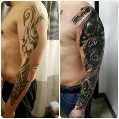 Coverup sleeve in progress. More highlights after healing. For inquires email me at : autopsy. Austin Tattoo, Free Hand Tattoo, Cover Up Tattoos, Skull Art, Austin Texas, Tattoo Studio, Dark Art, Tribal Tattoos, Tattoo Designs