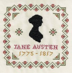 Items similar to Jane Austen Silhouette Sampler - Counted Cross Stitch Kit on Etsy Cross Stitch Borders, Cross Stitch Samplers, Counted Cross Stitch Kits, Cross Stitching, Cross Stitch Embroidery, Embroidery Patterns, Cross Stitch Patterns, Jane Austen Book Club, Needlework