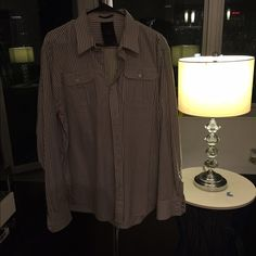 G star raw correct line button down G star raw grey and white striped button down G-Star Tops Button Down Shirts