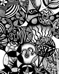 """Circles and Life"" by Pom Graphic Design on Displate #blackandwhite #illustration #abstract #shapes #displate #circles"