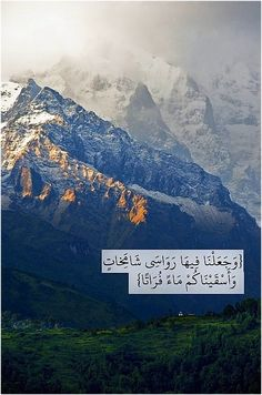 """And did We not firmly fix towering mountains on it (Earth) and give you sweet water to drink?"" Al-Qur'an 77:27"