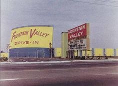 Fountain Valley Drive-In movie theater. Opened: From the mesa where the old estancia stood in Costa Mesa one could see the Fountain Valley Drive In when it was first built. Orange County California, California Dreamin', Vintage California, Drive In Movie Theater, About Time Movie, Huntington Beach, Old Movies, Vintage Photos, Vintage Signs