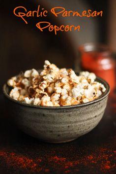 Garlic Parmesan Popcorn by @Feasting at Home via @Bonbon Break
