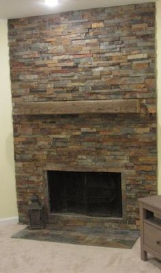 Interior, Small Wooden Table And Fireplace Shelf Plus Slate ...