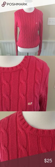 Vineyard Vines Women's Cable Knit Crewneck Sweater Cotton blend. Size Medium. Raspberry color with Embroidered whale logo. Good condition, no tears or stains. Vineyard Vines Sweaters