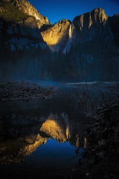 https://flic.kr/p/vWTHWj | dawn - Yosemite Falls - Yosemite National Park - 2-17-15  03  -  Explore! | Yosemite Falls illuminated by the first light of dawn is reflected in the waters of the Merced River.