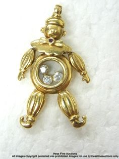 Gen. Designer Chopard 18k Gold Happy Diamond Dandy Dancing Clown Pendant Charm | eBay seller - hessfineauctions