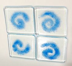 fused glass with grit coasters