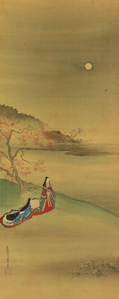 Moonlight Watching. Otsukimi. Japanese fine Art hanging scroll kakejiku.