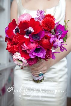 Anemone, Ranunculus, Orchid and Rose Bridal Bouquet... Replace the orchid with hydrangea and those are my flowers