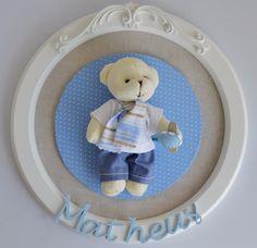 Placa Quadro Porta Maternidade Bebê Ursinho Ursinha C/ Nome - R$ 129,60 no MercadoLivre