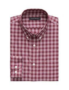 BANANA REPUBLIC – Fit Tech-Stretch Cotton Plaid Shirt – Think Positive – Buy Smart Banana Republic, Tech, Plaid, Shirt Dress, Fitness, Mens Tops, Cotton, Stuff To Buy, Shirts