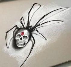 Black widow skull drawing. Cool tattoo idea