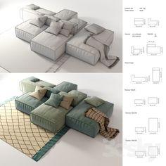 models: Sofa - Sofa Bonaldo Peanut B Sofa Furniture, Furniture Design, Sofa Design, Interior Design, Sofa Material, Modern Contemporary Living Room, Floor Pouf, Wood Sofa, Cottage Interiors