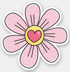 Cute pink flower with heart stickers. Sticker featuring a cartoon illustration of a pretty little pink flower with a pink heart in the center.