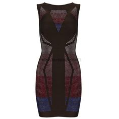 Herve Leger Geometry Beaded Sleeveless Bandage Dress H785