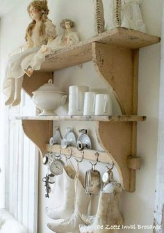 This is so quaint: cute vintage display in any room: love these antique canvas boots