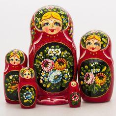 """Nesting Doll. Matryoshka """"Zhostovo"""". Hand-painted by L. Khroleva   eBay"""