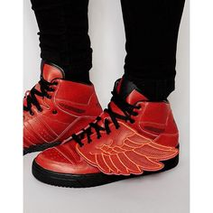 Adidas X Jeremy Scott Wings Basket Ball Sneakers (455 BRL) ❤ liked on Polyvore featuring men's fashion, men's shoes, men's sneakers, red, adidas mens sneakers, red wing mens shoes, mens red sneakers, adidas mens shoes and mens red shoes